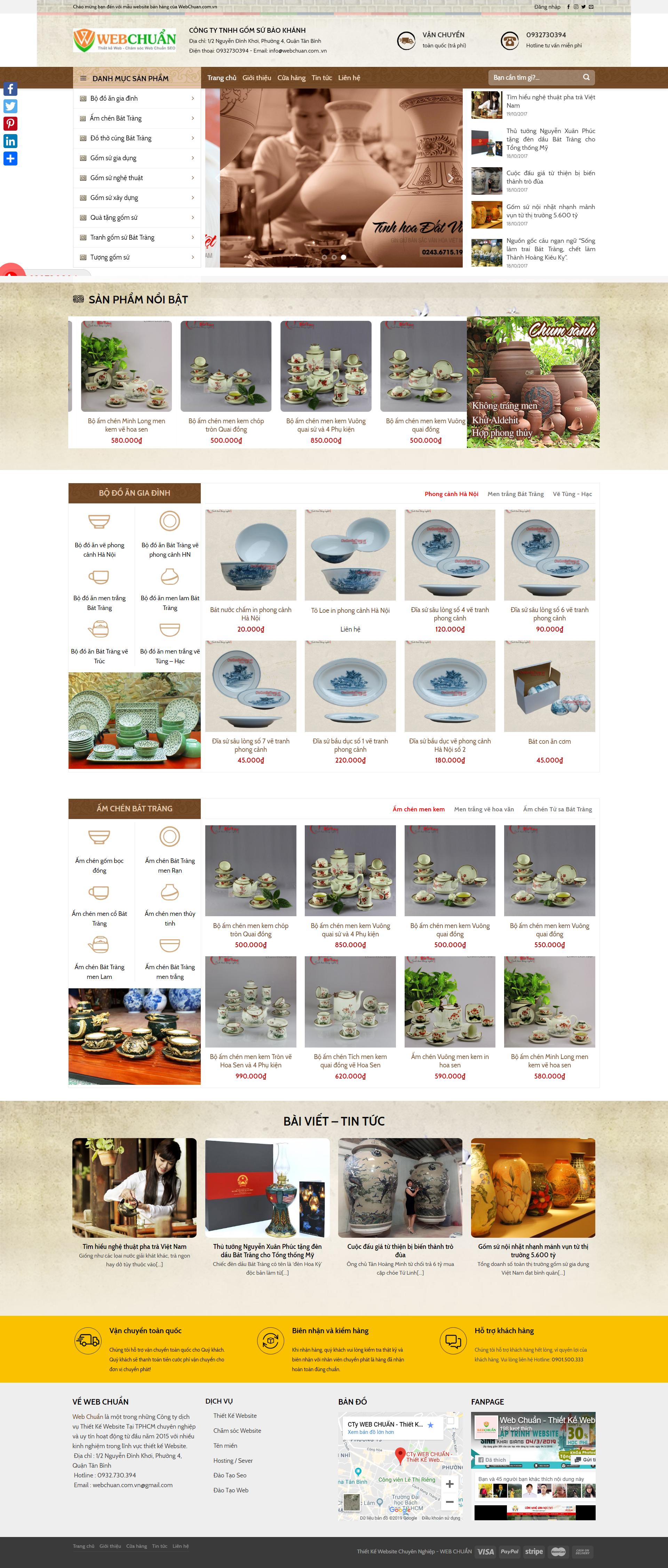 Mẫu Web Shop Bán Đồ Gốm