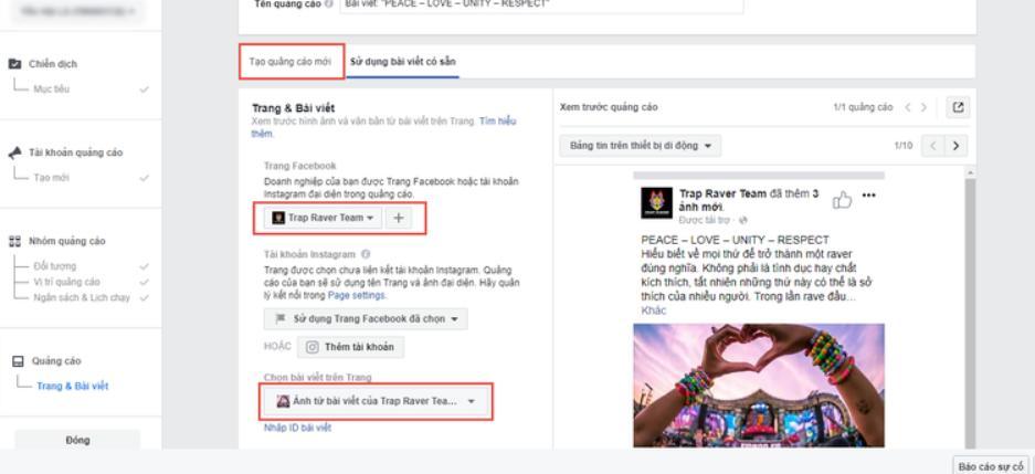 hướng dẫn chạy quảng cáo facebook 2020 Xem trước giao diện
