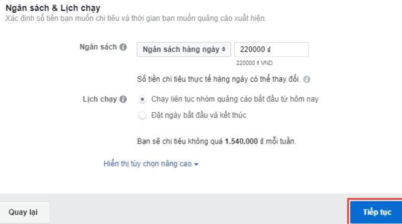 hướng dẫn chạy quảng cáo facebook 2020 Chọn ngân sách