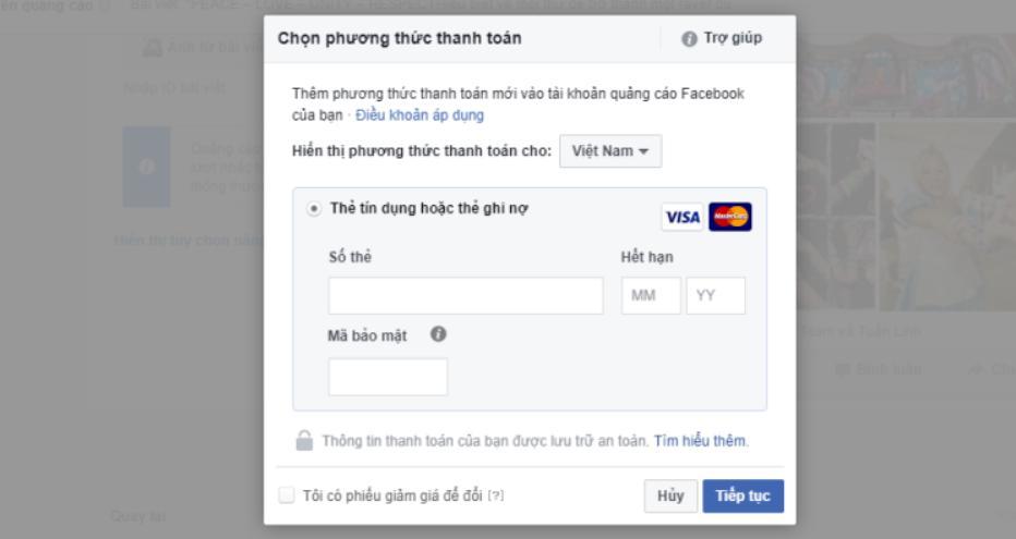 hướng dẫn chạy quảng cáo facebook 2020 Thanh toán